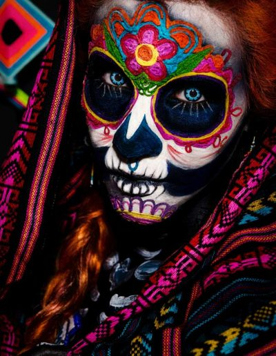 A Mexican woman painted for the day of the dead