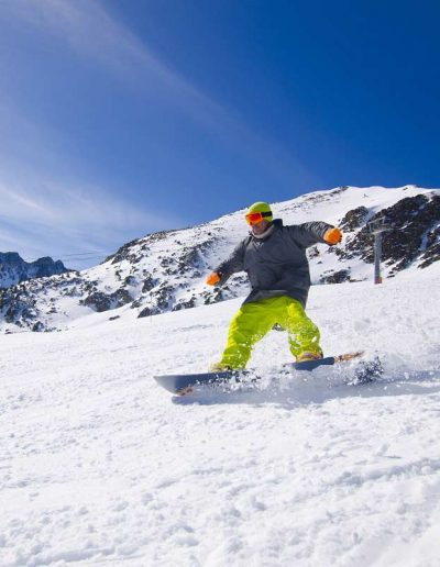 Snowboarding down the hills of Andorra