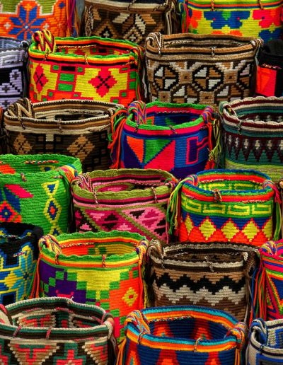 Colorful woven baskets in Cartagena, Colombia