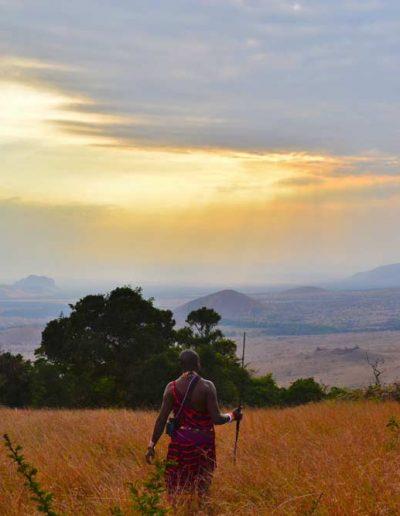 Man-standing-in-the-Chyulu-Hills,-Kenya