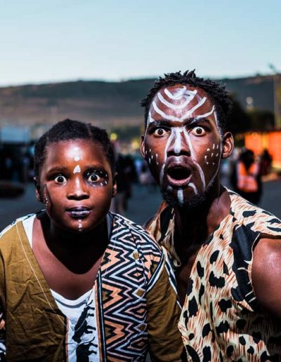 Two people with facepaint in Mamelodi, South Africa