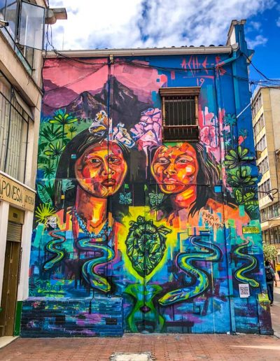 Colorful street art in Bogota, Colombia