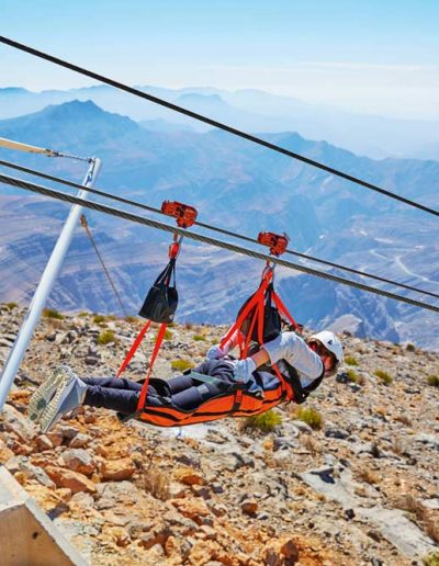ZIp lining in the Ras Al Khaimah mountains  — Destination Arabia